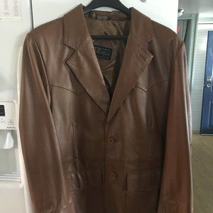 42R Brown Leather Blazer / Coat